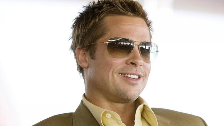 Brad Pitt Smiling Wearing Goggles Photoshoot